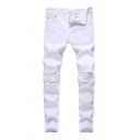 Simple Mens Solid Color Distressed Zipper Pocket Mid Rise Skinny Fitted Full Length Jeans in White