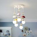 Cartoon 3/5-Light Suspension Light Gold Helicopter Multi Light Pendant with Ball Opal Glass Shade