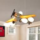 Fighter Jet Pendant Lamp Kid Cream Glass 5-Light Boy's Room Chandelier in Yellow