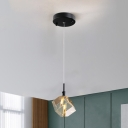 Square Crystal Pendant Lighting Contemporary 1 Bulb Black Ceiling Suspension Lamp for Bedroom