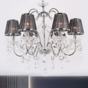 Pleated Fabric Grey Chandelier Conical 6-Light Contemporary Ceiling Pendant Lamp with Crystal Drop