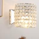 Short Cylinder Bedside Wall Light Modern Trellis Crystal 1-Light Clear Sconce Light Fixture