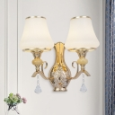 2 Heads Wall Mount Lighting Antique Porch Sconce with Flared Opal Ribbed Glass Shade in Gold