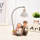 Happy Grandparent Resin Mini Night Lamp Kid Grey/White LED Table Stand Light with Bowl Shade