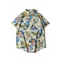 Beach Boys Allover Floral Printed Short Sleeve Point Collar Button down Curved Hem Oversize Shirt in Yellow