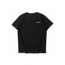 Undefeated Letter Patched Short Sleeve Crew Neck Relaxed Fit Popular T Shirt for Men