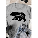Casual Bear Mountain Pattern Short Sleeve Crew-neck Slim Fitted T-shirt for Women