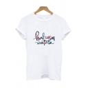 Trendy Girls Letter Hakuna Matata Printed Rolled Short Sleeve Crew Neck Relaxed T Shirt in White