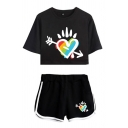 Street Girls Colorful Heart Pattern Short Sleeve Crew Neck Relaxed Crop T Shirt & Contrasted Shorts Set