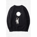 Street Guys Astronaut Moon Printed Long Sleeve Crew Neck Relaxed Pullover Sweatshirt in Black