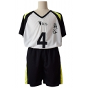 Cool Boys Number 4 Footprint Graphic Contrasted Short Sleeve V-neck Loose T Shirt & Tape Panel Short Shorts Set in Black