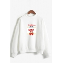 Popular Womens Japanese Letter Strawberry Graphic Long Sleeve Mock Neck Loose Fit Pullover Sweatshirt