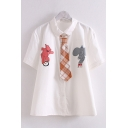 Stylish White Cartoon Elephant Bear Printed Short Sleeve Turn-down Collar Button up Loose Shirt with Plaid Print Tie