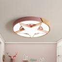Iron Star Badge Flush Ceiling Light Macaron White/Pink/Blue and Wood LED Flushmount Lighting