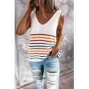 Womens Trendy Stripe Pattern V-neck Knitted Relaxed Fitted Tank Top