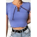 Classic Womens Lettuce Trim Lace-up Embellished Split Neck Short Sleeve Slim Fit Cropped Tee Top in Purple