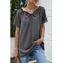 Popular Girls Solid Color Short Sleeve Drawstring Off the Shoulder Lace Trim Loose Fit T Shirt