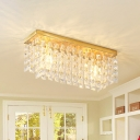 Crystal Squares Cuboid Ceiling Flush Contemporary 2 Lights Kitchen Flush Mounted Lamp in Brass