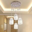 Gridded Cylindrical Restaurant Pendant Modern Crystal 4 Heads Chrome Multiple Hanging Light Fixture