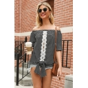 Stylish Womens Stripe Printed Bow Tie Hem Lace Patched Short Sleeve Off the Shoulder Loose Tee Top in Black