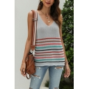 Street Womens Stripe Printed V-neck Knitted Loose Fitted Tank Top