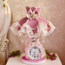 Korean Garden Lolita Dress Night Light Single-Bulb Fabric Table Lamp with Drape and Clock in Purple and Pink