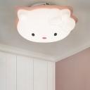 Kitten Kindergarten Flush Ceiling Light Plastic Cartoon LED Flush Mount Lamp in Pink/Blue