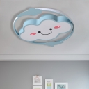 Cloud/Rainbow Kids Bedroom Ceiling Lamp Iron Cartoon LED Flush Mount Lighting Fixture in Pink/Blue