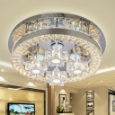 Circular Living Room Flushmount Modernism Hand-Cut Clear Crystal LED Chrome Flush Light