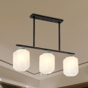 3-Bulb Island Light Fixture Country Lantern Opal Glass Pendant Lamp in Black  with Metal Linear Beam
