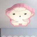 Cartoon Hubal Shape Flushmount Light Acrylic LED Bedroom Flush Mount Fixture in Pink, White/Warm Light
