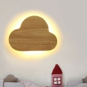 Beige Cloud Sconce Lighting Nordic LED Wood-Panel Wall Lamp Fixture in White/Warm Light