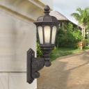 Black 1 Light Wall Light Sconce Cottage Clear Seeded Glass Lantern Wall Lighting for Outdoor