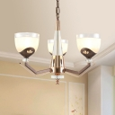 Gold Bowl Shade Chandelier Light Countryside White Ribbed Glass 3/6 Lights Bedroom Ceiling Pendant