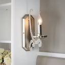 Traditional Candle Wall Sconce 1/2-Head Iron Wall Light Fixture in Silver with Crystal Bead