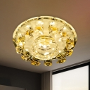Circular Porch Flush Mount Lighting Minimalism Crystal LED Yellow Ceiling Light in Warm/White Light