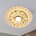 LED Ceiling Lamp Modern Bloom Clear Crystal Flush Mount Lighting with Peacock Tail Pattern, Warm/White Light
