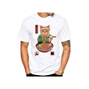 Lovely Cat Eating Noodles Printed Short Sleeve Crew Neck Relaxed Fit T Shirt for Guys