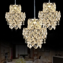 2 Layers Clear Crystal Cluster Pendant Modernism 3 Heads Living Room Ceiling Light