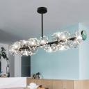 Linear Kitchen Island Lighting Modernism Crystal 16-Head Black Pendant with Floral Design