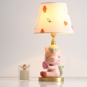 Resin Unicorn Desk Light Cartoon 1 Bulb Pink/Blue Night Table Lighting with Conical Fabric Shade