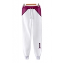 Fancy Number Printed Contrasted Drawstring Waist Ankle Cuffed Carrot Fit White Sweatpants for Guys