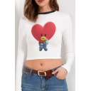 Cute Girls Cartoon Printed Long Sleeve Round Neck Fitted Crop Tee Top in White