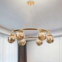 Mid Century Circular Drop Lamp Smoke Ball Glass 6-Light Sitting Room Chandelier with Interior Wire String