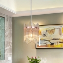 Rose Gold 1 Head Pendant Lighting Fluted Crystal Wave-Trim Hanging Ceiling Light