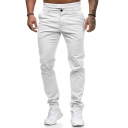 Trendy Solid Color Mid Rise Ankle Length Relaxed Fit Pants for Men