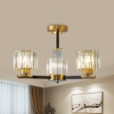 Burst Designed Crystal Semi Flush Mount Contemporary 3/6 Heads Bedroom Close to Ceiling Lighting in Black-Gold