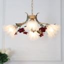 4/6 Heads Hanging Chandelier Korean Flower Pendant with Scalloped Opal Glass Shade in Red