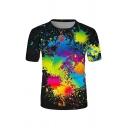 Stylish Guys Splash Ink Printed Short Sleeve Crew Neck Slim Fit T Shirt