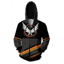 Leisure Mens Letter The Division Stripe Graphic Colorblock Regular Fit Hoodie in Black